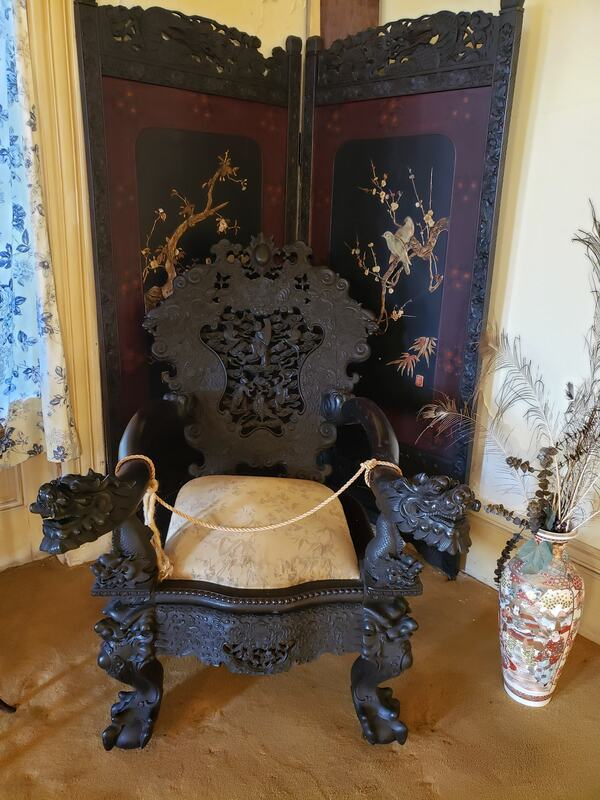 A chair from the Ming dynasty at the notoriously haunted Wilson Castle in Proctor, Vermont.