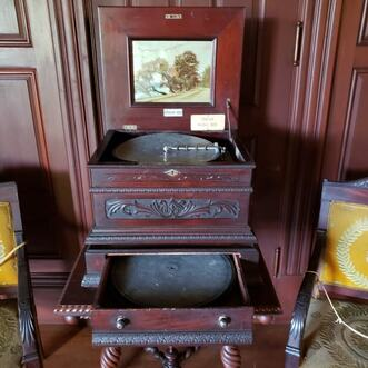 A Swiss music box at the notoriously haunted Wilson Castle in Proctor, Vermont.