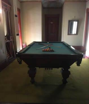 The pool table at the notoriously haunted Wilson Castle in Proctor, Vermont.